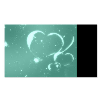 Trendy Emerald Green Romantic Hearts Double-Sided Standard Business Cards (Pack Of 100)