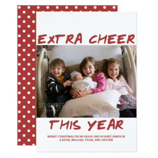 Trendy Extra Cheer This Year Photo Card | Burgundy