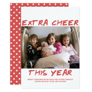Trendy Extra Cheer This Year Photo Card | Red