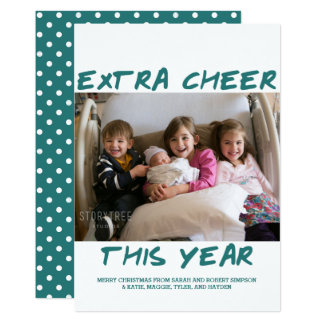 Trendy Extra Cheer This Year Photo Card | Teal