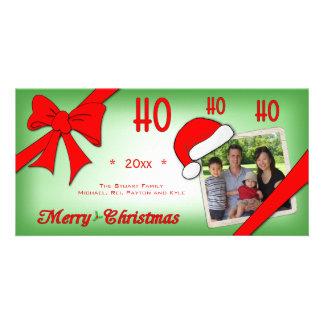 Trendy Faded Green Ho Ho Ho Custom Photo Card