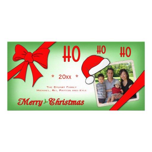 Trendy Faded Green Ho Ho Ho Photo Greeting Card