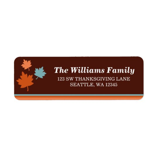 Trendy Fall Leaves Thanksgiving Address Label