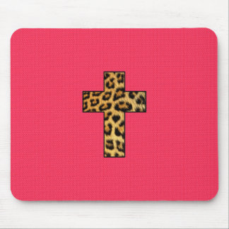 Trendy Fashion Cheetah Print Cross on Pink Neon Mouse Mat