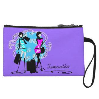 Trendy fashion diva girls purple wristlet