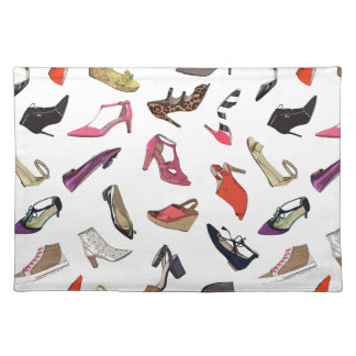 Trendy fashion shoes placemat
