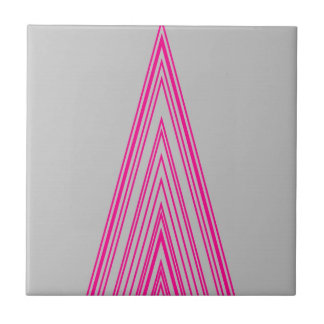 Trendy Fashion Triangle Pink Neon Line Art Small Square Tile