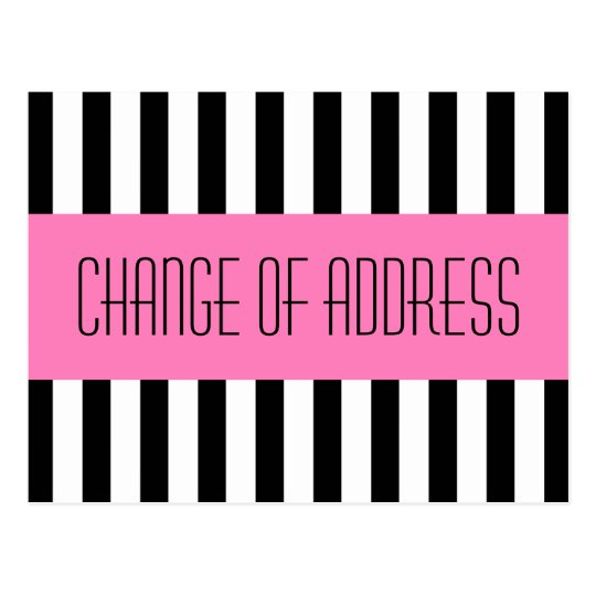 Trendy fashionable pink new address moving postcard