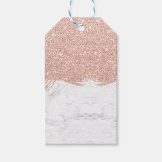 Trendy faux glitter rose gold brushstrokes marble gift tags