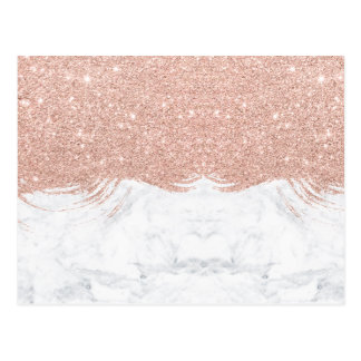 Trendy faux glitter rose gold brushstrokes marble postcard