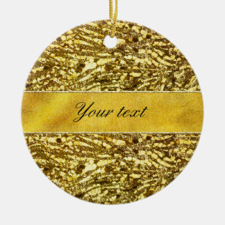Trendy Faux Gold Foil Zebra Stripes Christmas Ornament