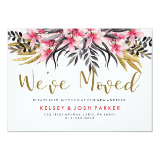 Trendy Faux Gold Glitter and Flowers New Address Card