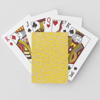 Trendy faux gold glitter leopard mustard pattern playing cards
