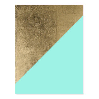 Trendy faux gold turquoise modern chic color block postcard