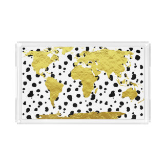 Trendy Faux Gold World Map & Dalmatian Print Acrylic Tray