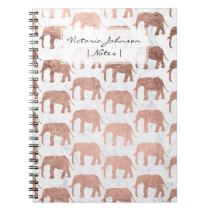Trendy faux rose gold elephants white marble notebook