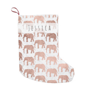 Trendy faux rose gold elephants white marble small christmas stocking