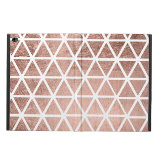 Trendy faux rose gold foil triangles pattern