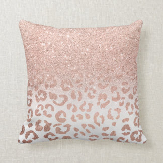 Trendy faux rose gold glitter ombre leopard cushion