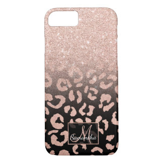 Trendy faux rose gold glitter ombre leopard iPhone 8/7 case