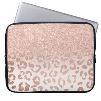 Trendy faux rose gold glitter ombre leopard laptop sleeve