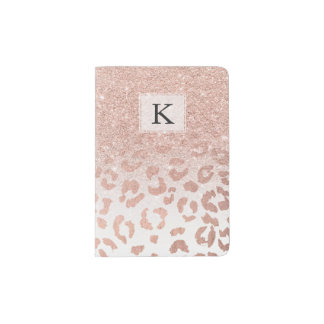 Trendy faux rose gold glitter ombre leopard passport holder