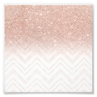 Faux Rose Gold ... Glitter Chevron Pattern