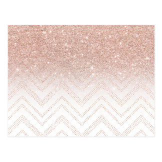 Trendy faux rose gold glitter ombre modern chevron postcard
