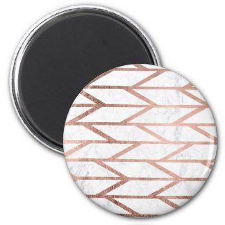 Trendy faux rose gold herringbone chevron pattern 6 cm round magnet