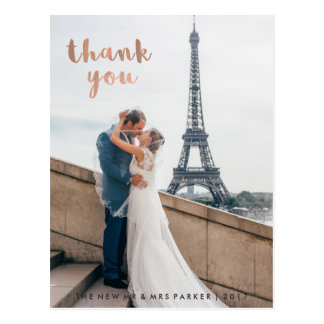 Trendy Faux Rose Gold Typography Wedding Thank You Postcard