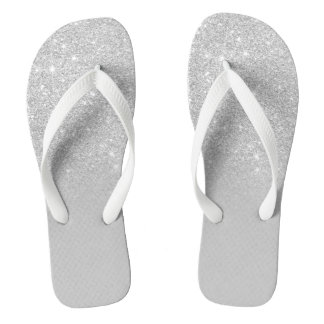 Trendy faux silver glitter ombre grey color block flip flops