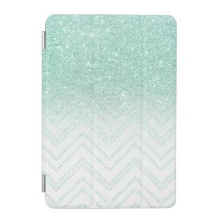 Trendy faux teal glitter ombre modern chevron iPad mini cover