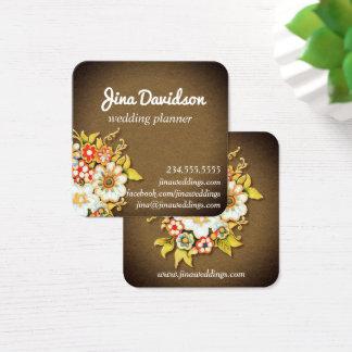 Trendy Floral Art Wedding Planner Business Card