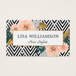 trendy floral    beauty salon business card
