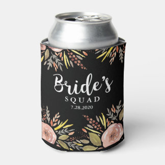 Trendy Floral Bride Squad Custom Wedding Date Can Cooler