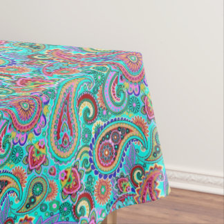 Trendy Floral Colorful Paisley Tablecloth