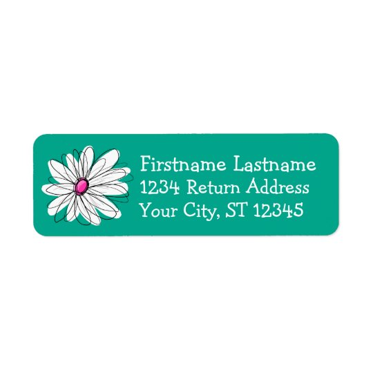 Trendy Floral Daisy Illustration - Pink and Green Return Address Label