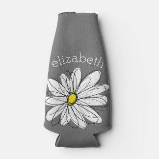 Trendy Floral Daisy with gray yellow custom name Bottle Cooler