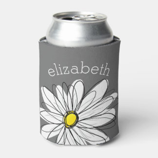 Trendy Floral Daisy with gray yellow custom name Can Cooler