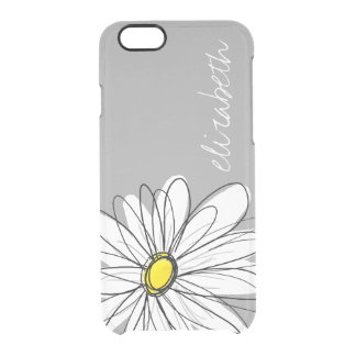 Trendy Floral Daisy with gray yellow custom name Clear iPhone 6/6S Case