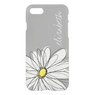 Trendy Floral Daisy with gray yellow custom name iPhone 7 Case