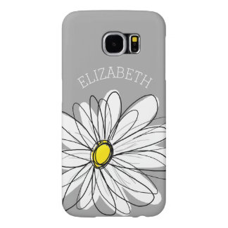 Trendy Floral Daisy with gray yellow custom name Samsung Galaxy S6 Cases