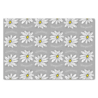 Trendy Floral Daisy with gray yellow custom name Tissue Paper