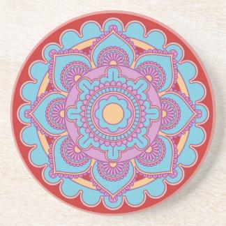 Trendy Floral Mandala Drink Sandstone Coaster