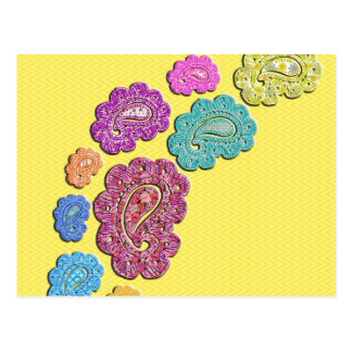 Trendy floral pastel polka dot paisley post cards