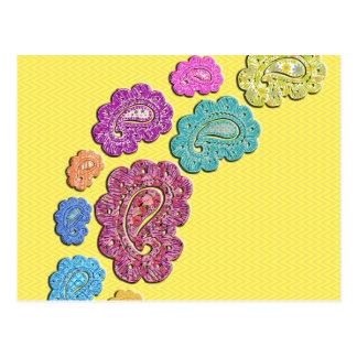 Trendy floral pastel polka dot paisley postcard