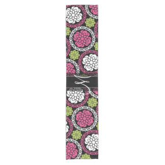 Trendy Floral Pattern Hot Pink and Black Monogram Short Table Runner