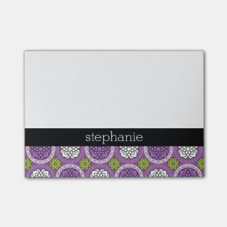 Trendy Floral Pattern - Orchid and Lime Green Post-it® Notes