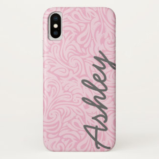 Trendy Floral Pattern with name - pink and gray iPhone X Case