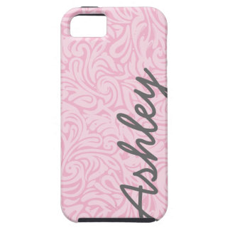 Trendy Floral Pattern with name - pink and grey Case For The iPhone 5